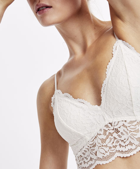 Bralette triangle crochet dentelle