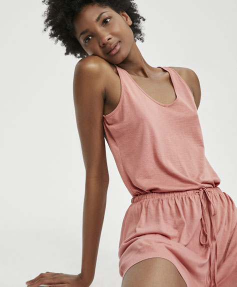 Plain pink vest top