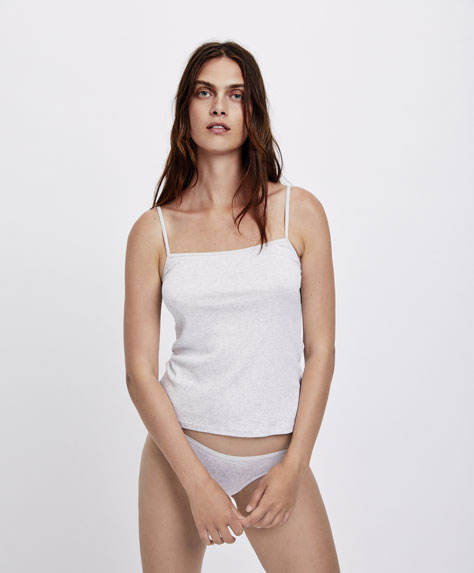 Ribbed cotton strappy top