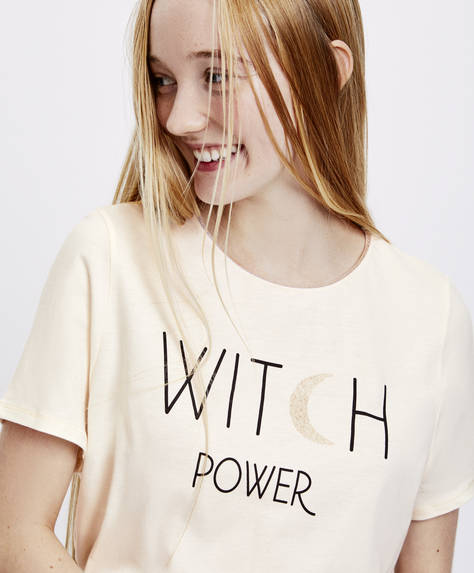 T-shirt 'witch' met korte mouwen