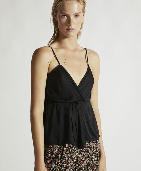 Strappy top with gathered detail