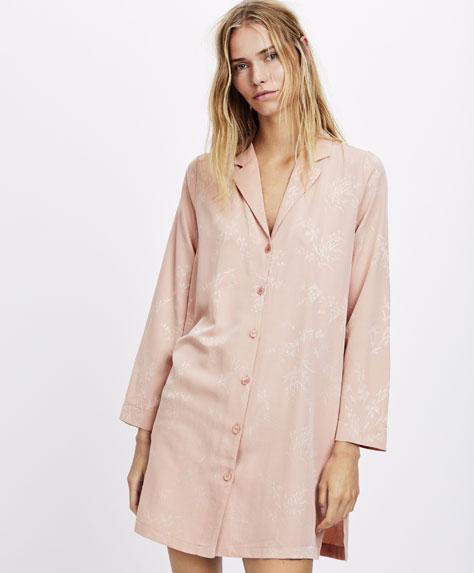 Camisa de dormir jacquard com raminhos
