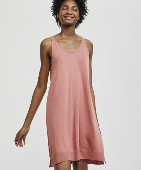 Plain pink sleeveless nightdress