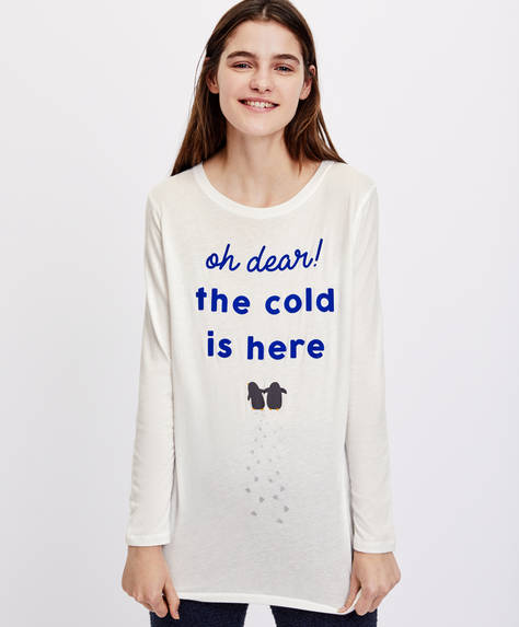 "Langärmeliges Shirt ""Oh dear! The cold is here"""