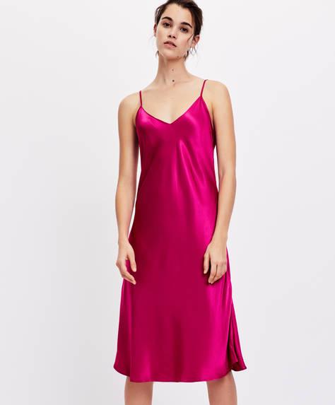 Ensfarvet, lang natkjole