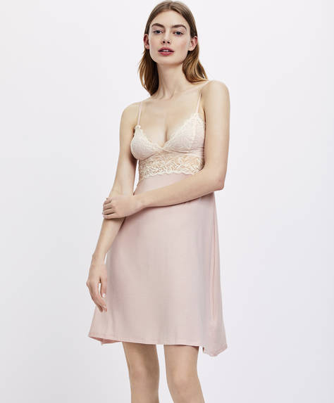 Plain modal blonde lace strappy nightdress