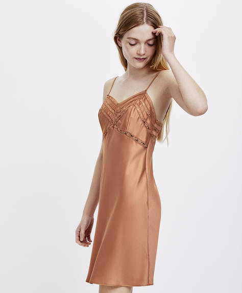 Strappy plain satin nightdress