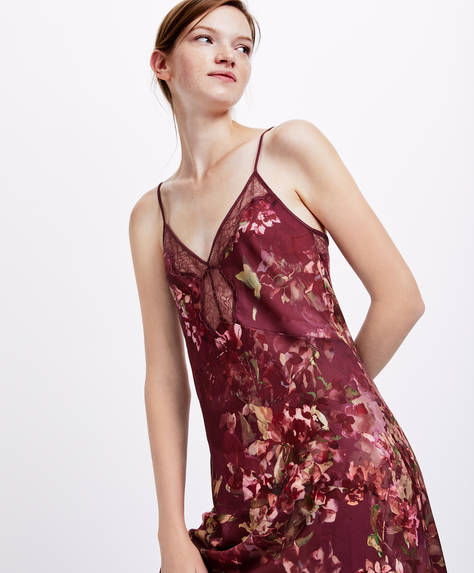 Burgundy floral print nightdress