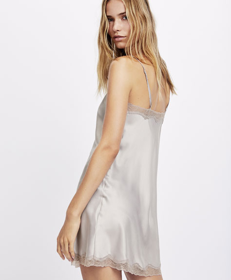 Satin blonde lace nightdress