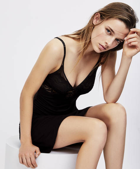 Modal and lace strap detail nightdress