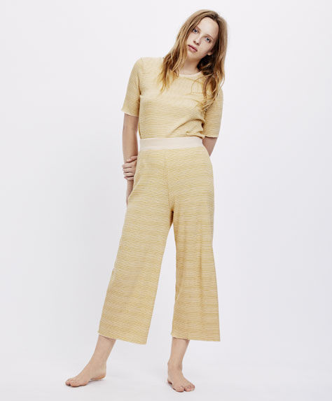 Long honey striped trousers