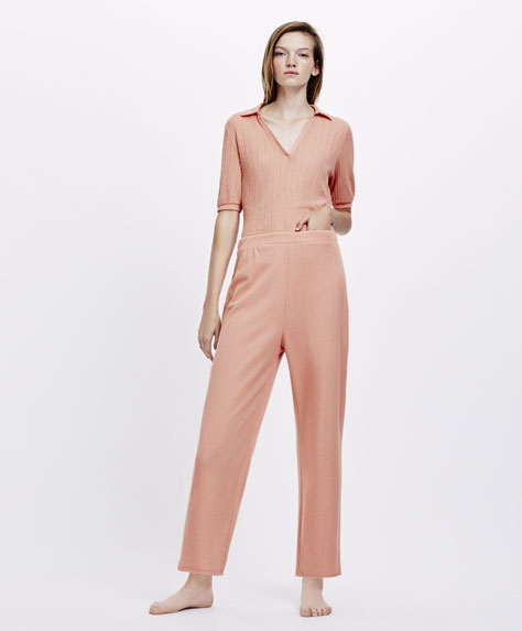 Plain open knit trousers