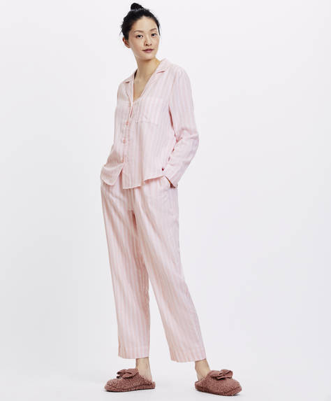 Pink and white striped trousers