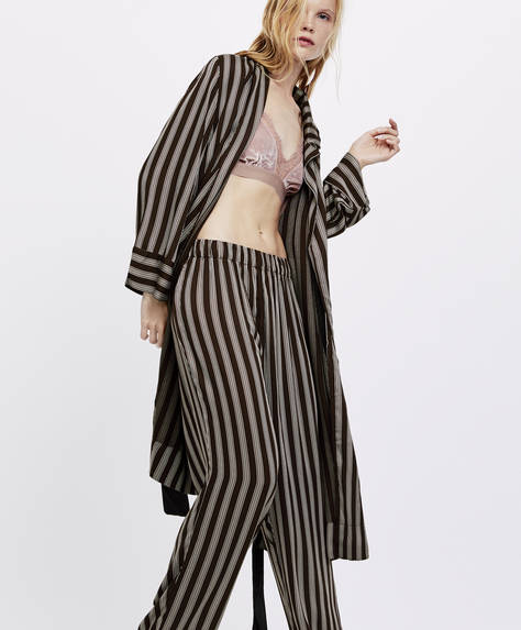 Trousers with cocoa stripes