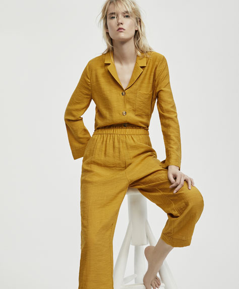 Plain mustard trousers