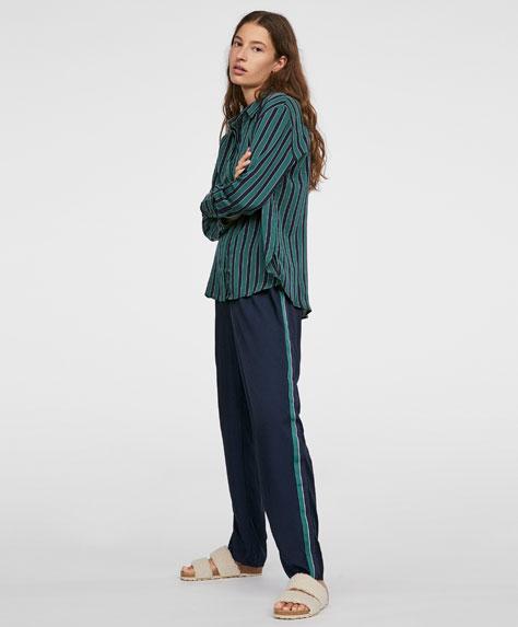 Plain navy blue trousers