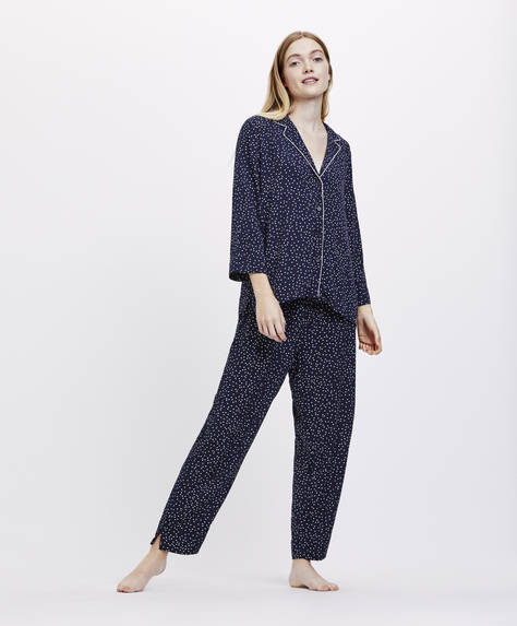 Irregular polka dot trousers