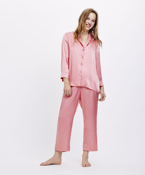 Pantalon uni rose