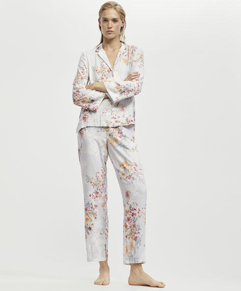Camellia print long trousers