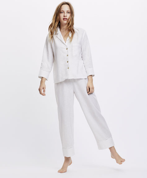Long white linen trousers