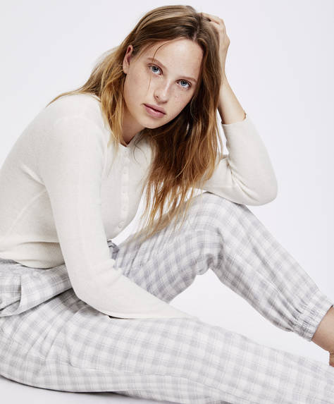 Grey gingham trousers