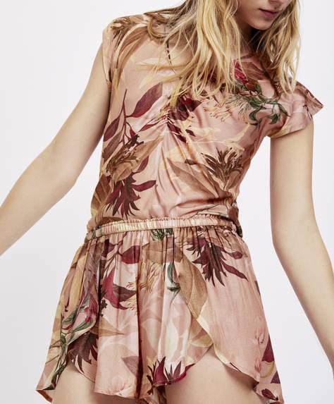 Ροζ παντελόνι με φύλλα