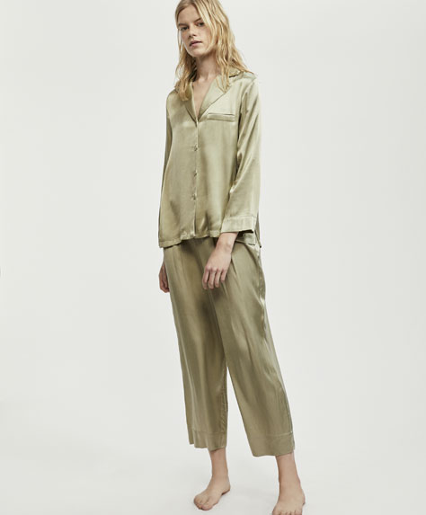 Green satin trousers
