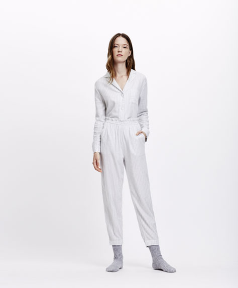 Grey marl striped trousers