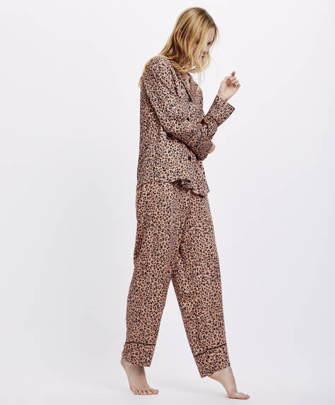 Pantaloni stampa macchia di leopardo