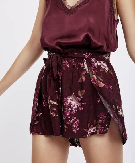 Maroon floral print shorts