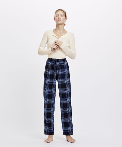 Navy blue tartan check trousers