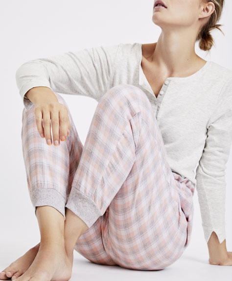 Pink and grey gingham trousers