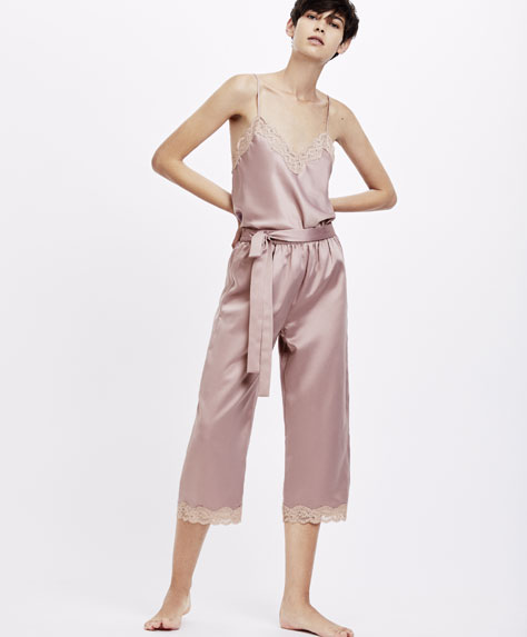 Satin capri trousers with micro lace