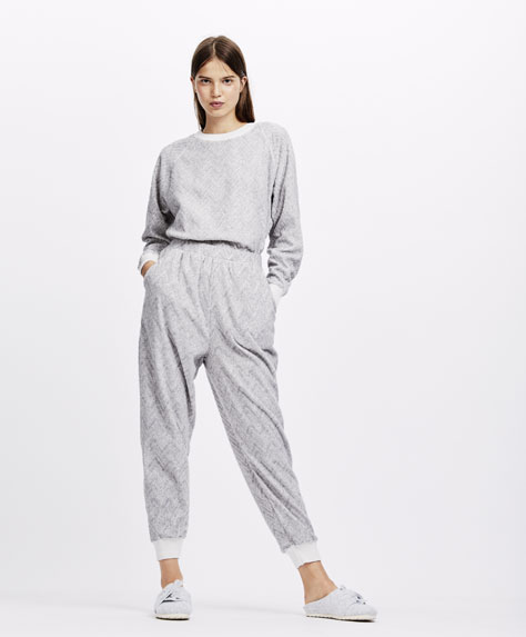 Zigzag textured weave trousers
