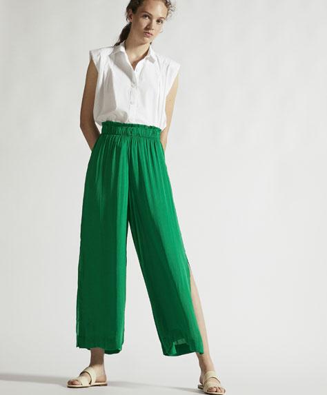 Yırtmaçlı saten pantolon
