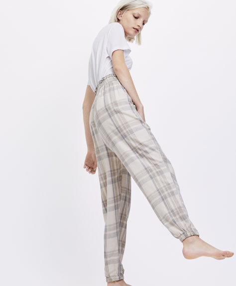 Long checked trousers