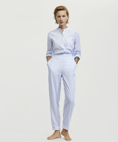 Striped blue trousers