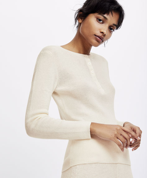 Fine knit ribbed jumper