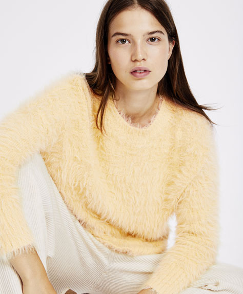Furry yellow jumper