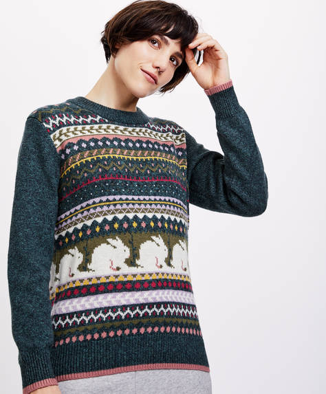 Jacquard animal jumper