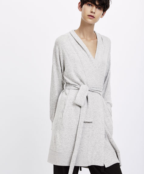 Plain carded grey marl dressing gown