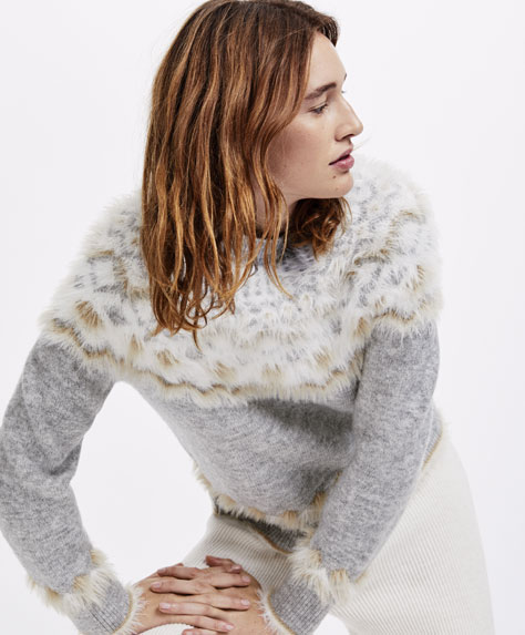 Neutral jacquard jumper