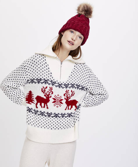 Zip-up reindeer jumper