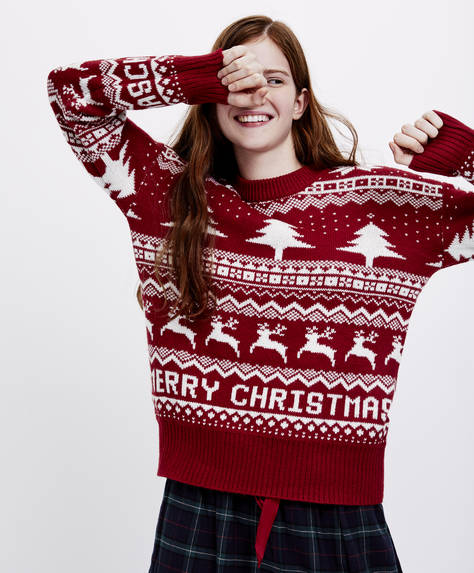 Pullover in jacquard Merry Christmas