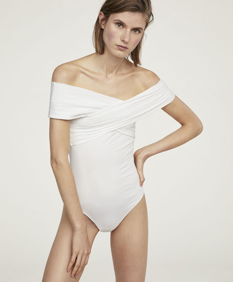 Wrap bodysuit with crossover neckline