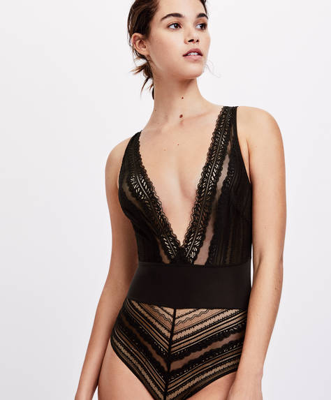Geometric lace bodysuit