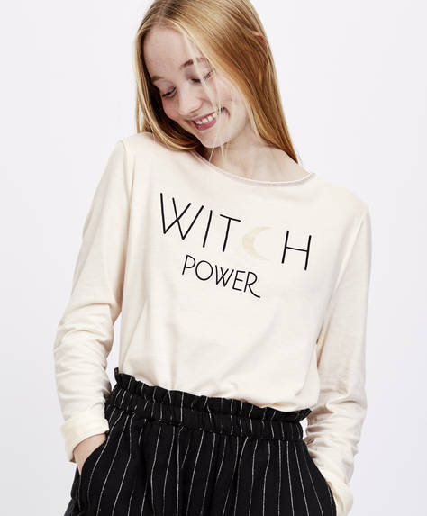 T-shirt 'witch' met lange mouwen