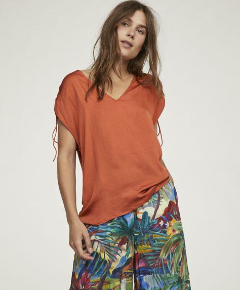 T-shirt froncé sans manches