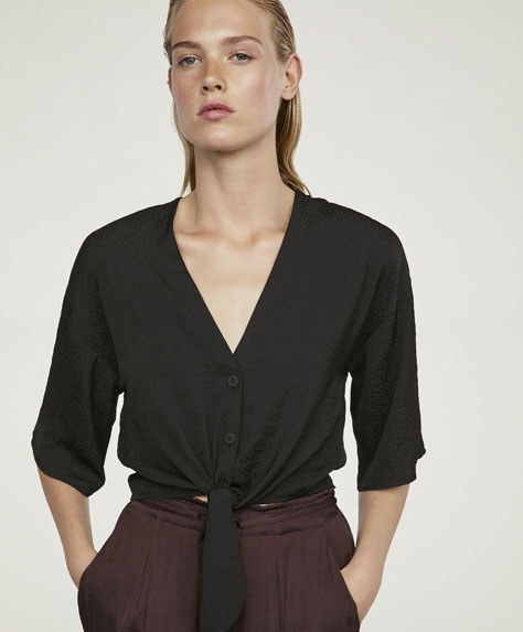 Satin top with knot