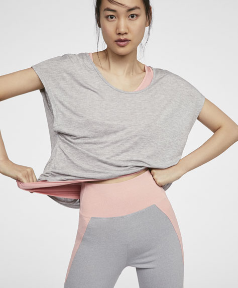 Pink and grey double-layer T-shirt